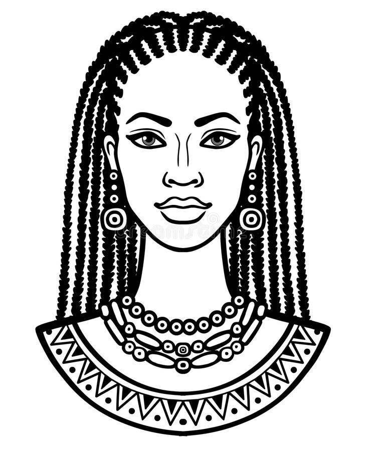 年轻非洲妇女的动画画象 单色线性图画 向量例证
