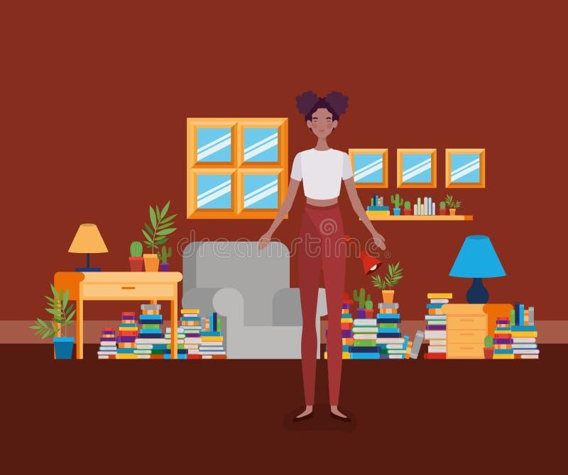 年轻非洲的妇女身分在图书馆屋子 库存例证