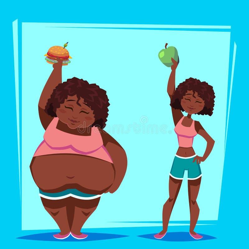 年轻非裔美国人的妇女用苹果和便当在减肥节目前后 苹果概念卫生措施磁带 滑稽的动画片characte 库存例证