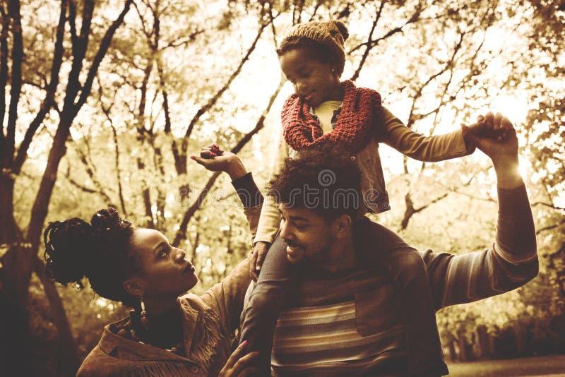 年轻非裔美国人的家庭在一起公园 免版税库存照片