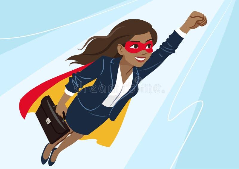 年轻非裔美国人的超级英雄妇女佩带的西装和 皇族释放例证