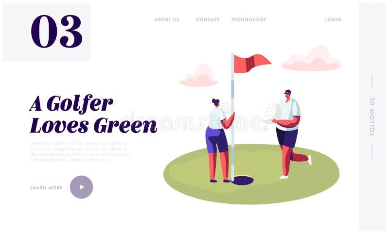 年轻高尔夫球运动员结合演奏高尔夫球网站着陆页,人高尔夫球运动员放球入孔在绿色路线的,妇女举行旗子 库存例证