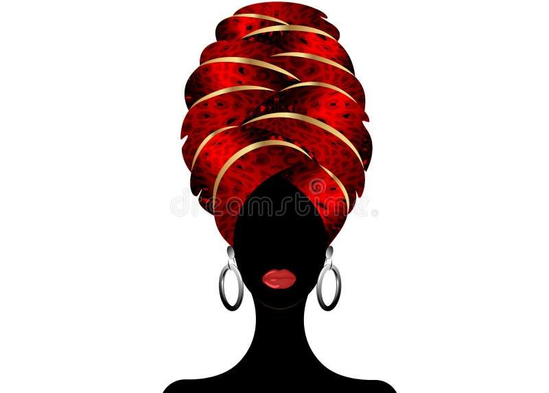 年轻黑人妇女的画象头巾的 动画非洲人秀丽 导航在白色背景隔绝的彩色插图 向量例证