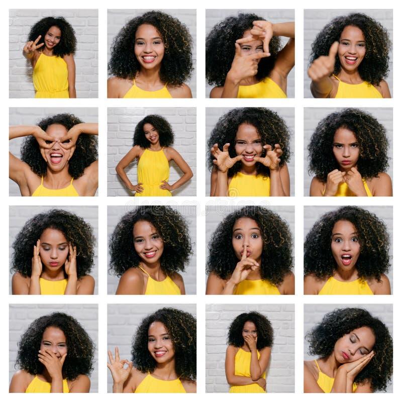 年轻黑人妇女表情在砖墙上的 免版税库存图片