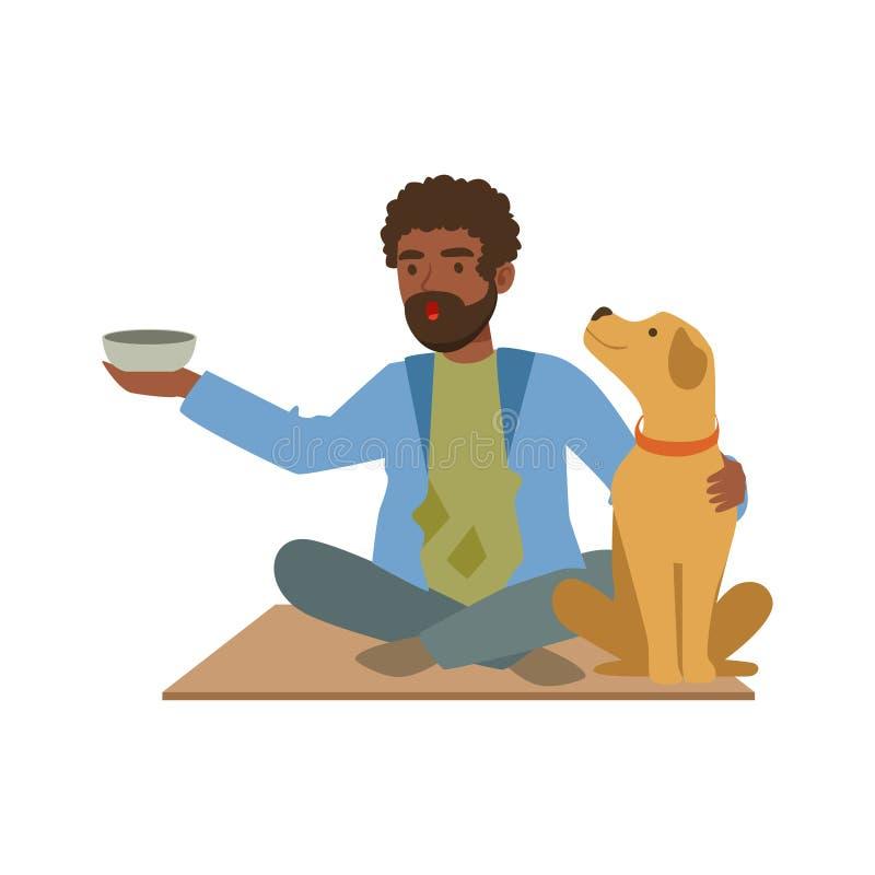 年轻黑无家可归的人字符坐有他的狗和杯子的街道金钱的,失业男性叫化子 向量例证