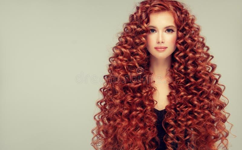 年轻,有吸引力的年轻模型画象与难以置信的密集,长,卷曲红色头发的 卷曲的头发 免版税库存图片