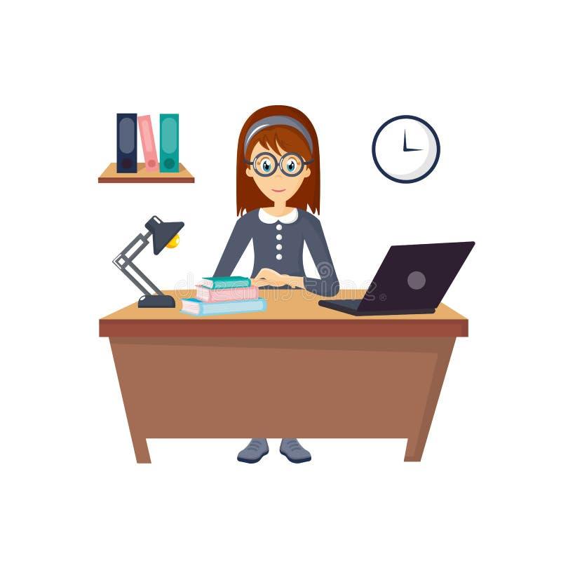 年轻,美丽的女孩,工作在计算机在办公室 皇族释放例证