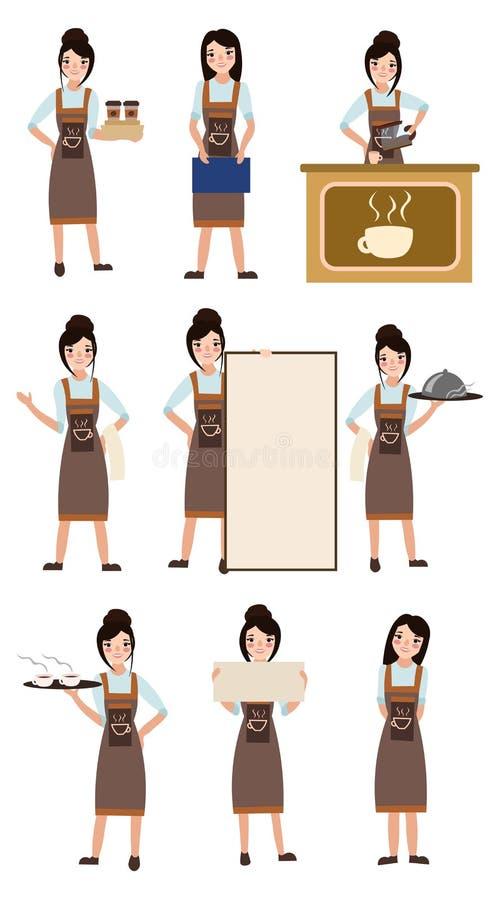 年轻barista准备咖啡在与咖啡机器的柜台咖啡店 库存例证