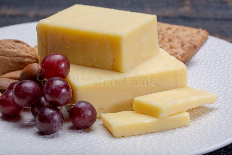 年迈的切达干酪块,乳酪的最普遍的类型  免版税库存图片