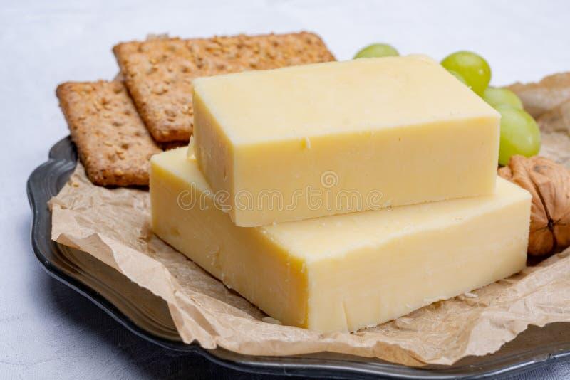 年迈的切达干酪块,乳酪的最普遍的类型  免版税库存照片