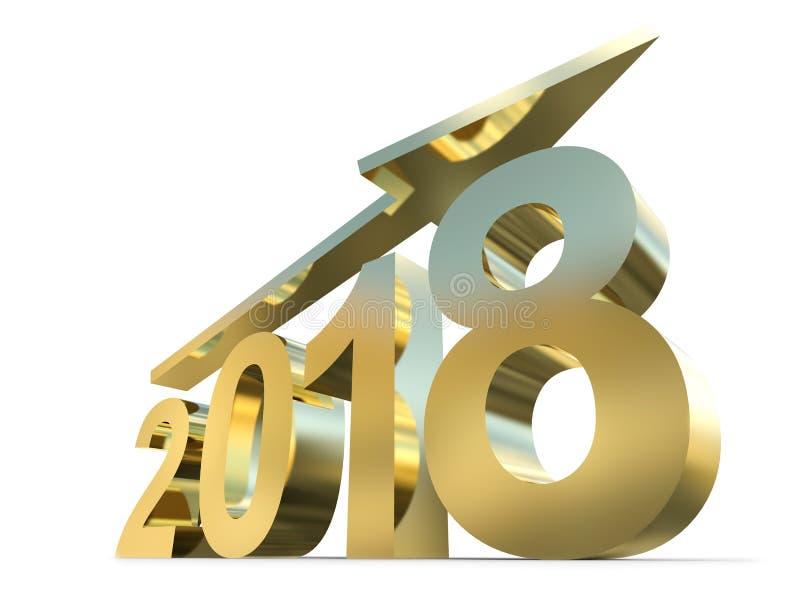 2018年金子金黄年由发光的金字体制成 库存例证