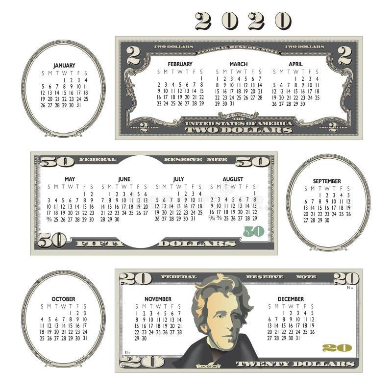 2020年金钱日历,理想对任何事务 皇族释放例证