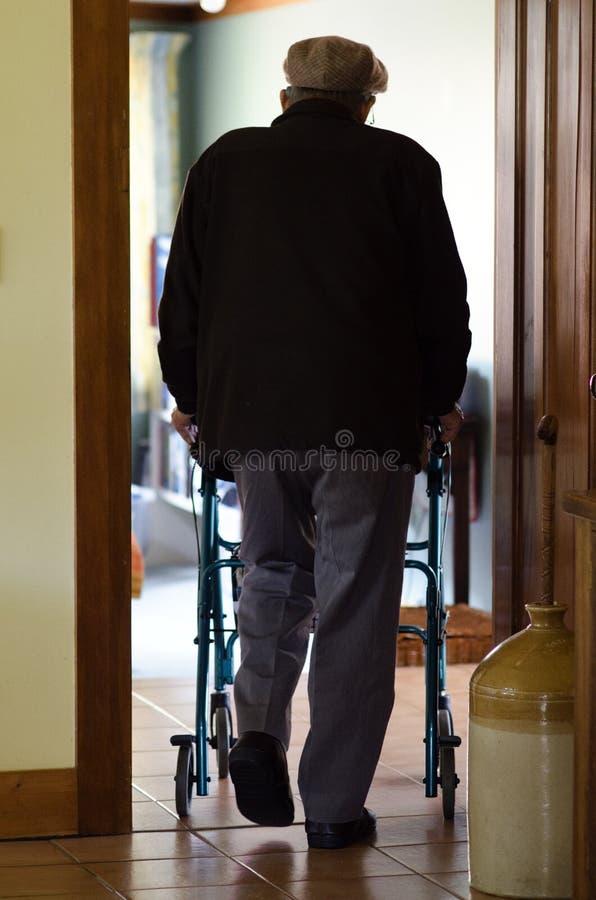 年长人使用步行者(走的框架) 库存图片
