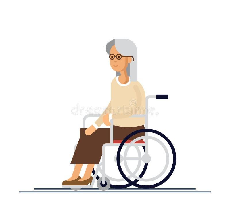 年长人员 轮椅的祖母 在一个平的样式的传染媒介例证 皇族释放例证