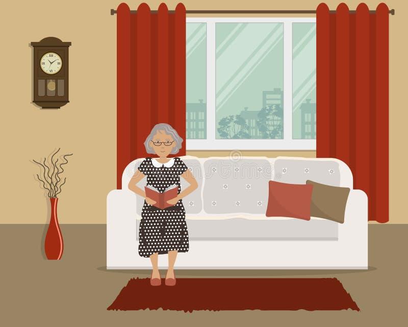年长夫人坐长沙发并且读书 库存例证