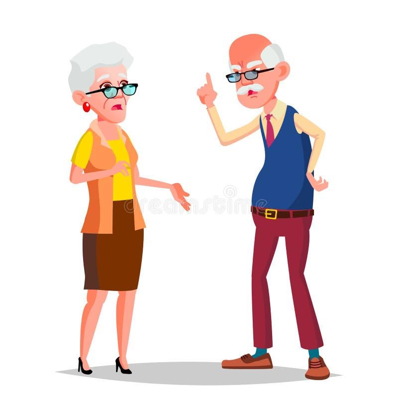 年长夫妇传染媒介 现代祖父母 晚年 玻璃 被隔绝的平的动画片例证 向量例证