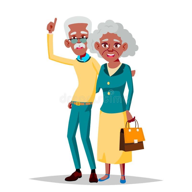 年长夫妇传染媒介 祖父和祖母 黑色,美国黑人 情形 老资深人民 被隔绝的舱内甲板 库存例证