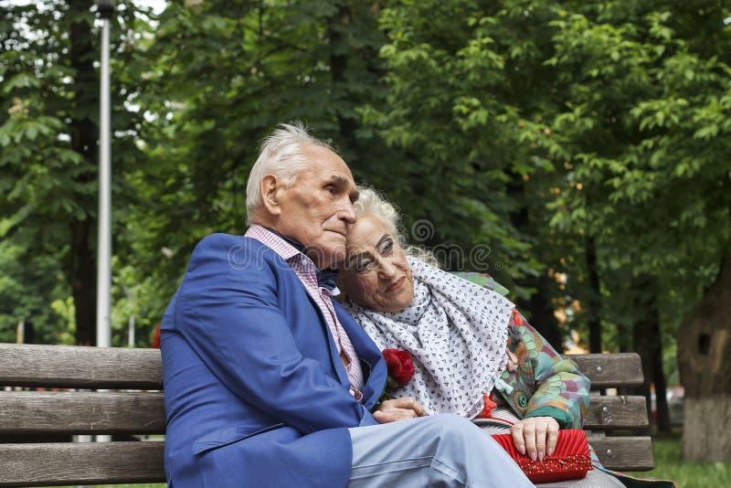 年长夫妇,坐的人们,公园长椅,拷贝空间 免版税库存图片