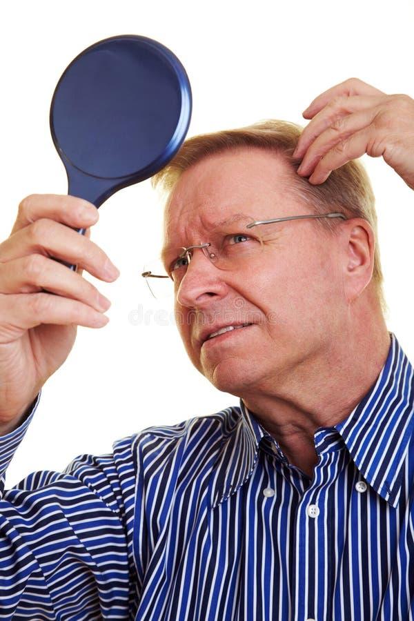 年长头发人变薄 库存图片