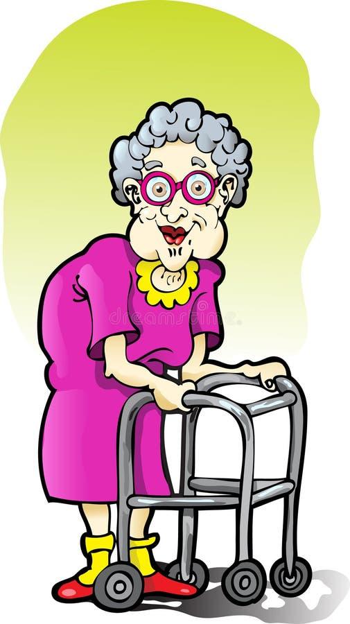 年长步行者妇女 向量例证