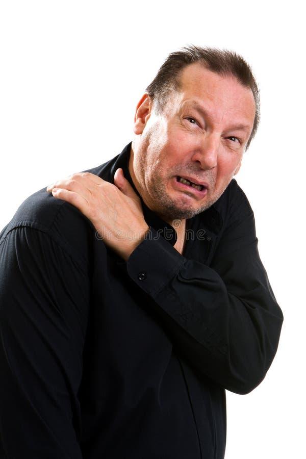 年长痛苦肩膀 库存照片