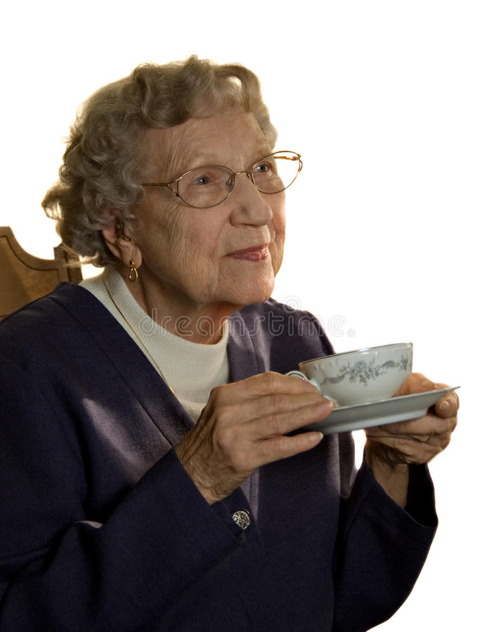 年长茶妇女 免版税库存图片
