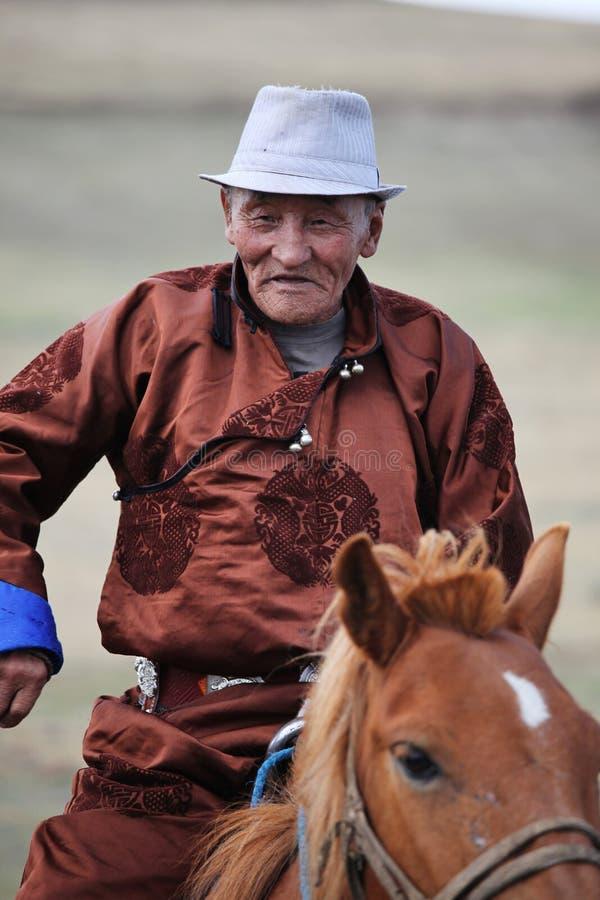 年长蒙古御马者 库存照片