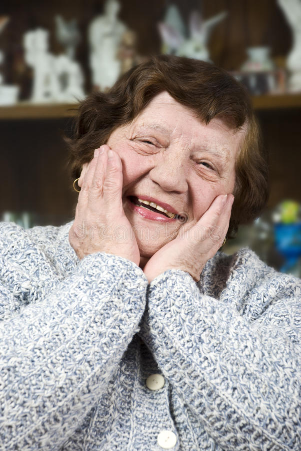 年长表面愉快的妇女 免版税库存照片