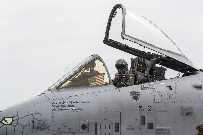 "2019年韦恩堡航展A-10 Thunderbolt II ""Warthogs"" 免版税库存照片"
