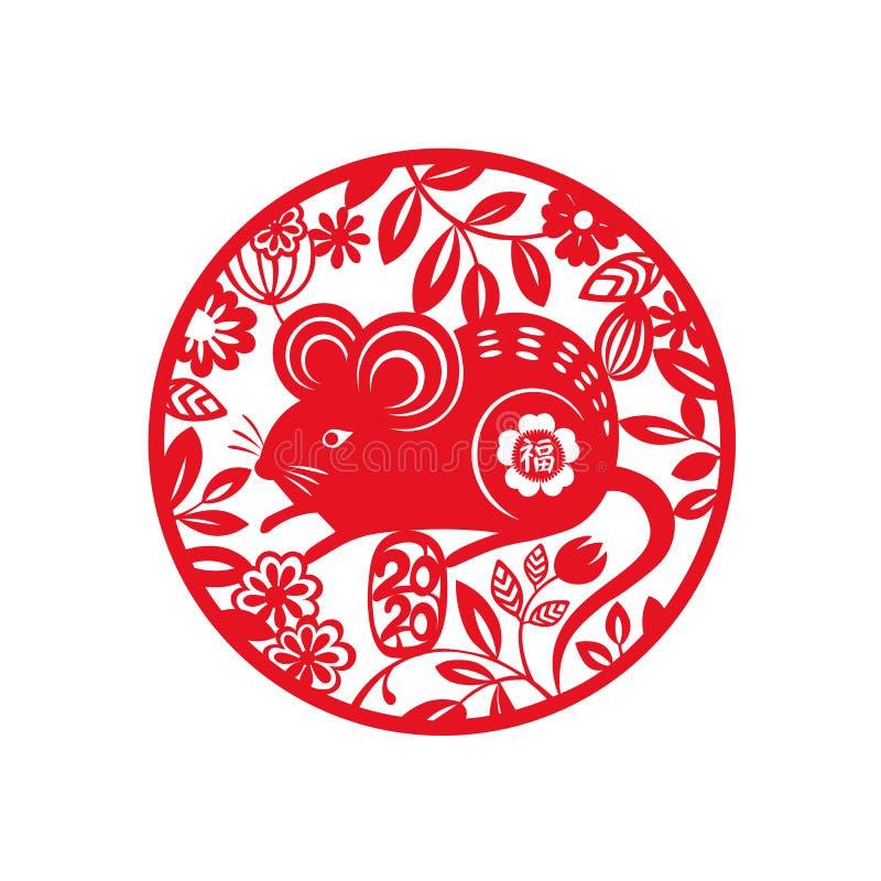 2020年鼠年 生肖鼠标圆设计 中国动物月历鼠传统剪纸艺术 皇族释放例证
