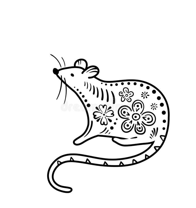 2020年鼠新年快乐传染媒介背景,中国横幅概念 幸运的数字例证元素,黑白 库存例证