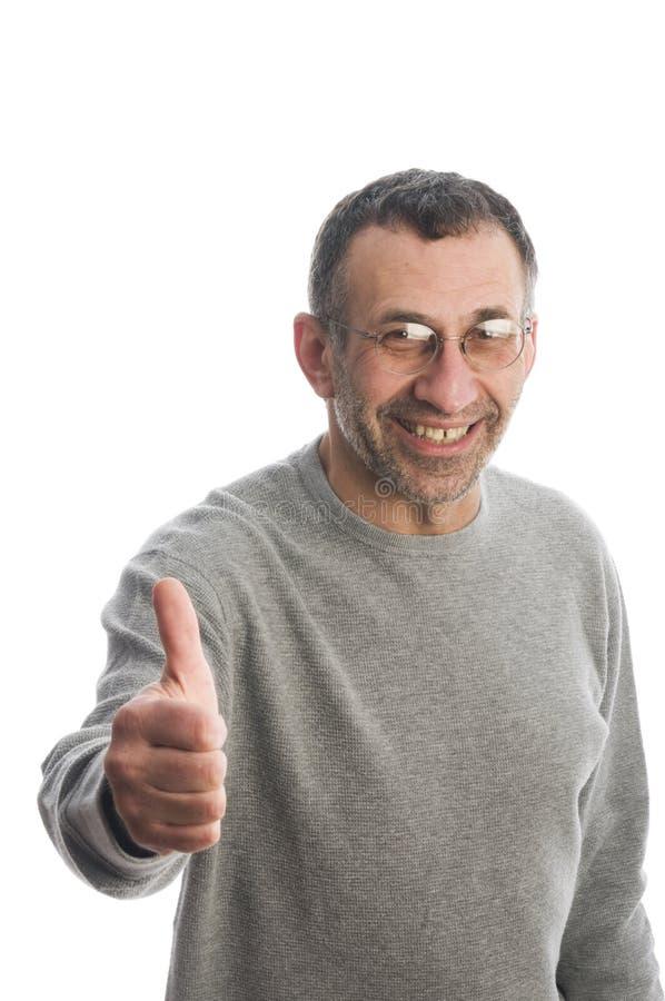 年龄人中间微笑的赞许 免版税库存图片