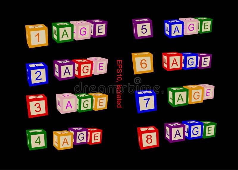 年龄线,年龄的数字 书或海报的例证 库存例证