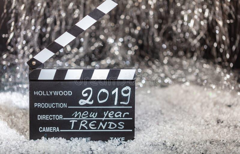2019年,在电影拍板的新年趋向 免版税图库摄影