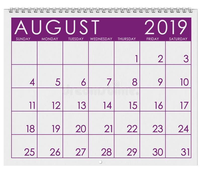 2019年:日历:月份的8月.图片