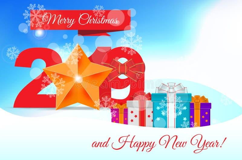 2019年 传染媒介圣诞节贺卡模板 圣诞快乐和新年快乐设计元素 库存例证