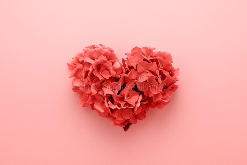 年2019年心形的居住的珊瑚颜色由花制成 库存图片