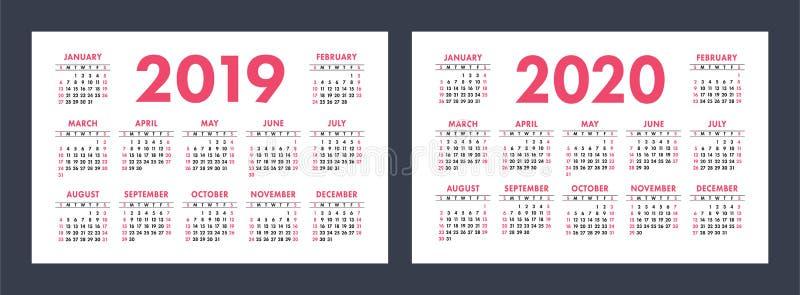 2019年2020年,日历集合 颜色,口袋 在星期天,星期起始