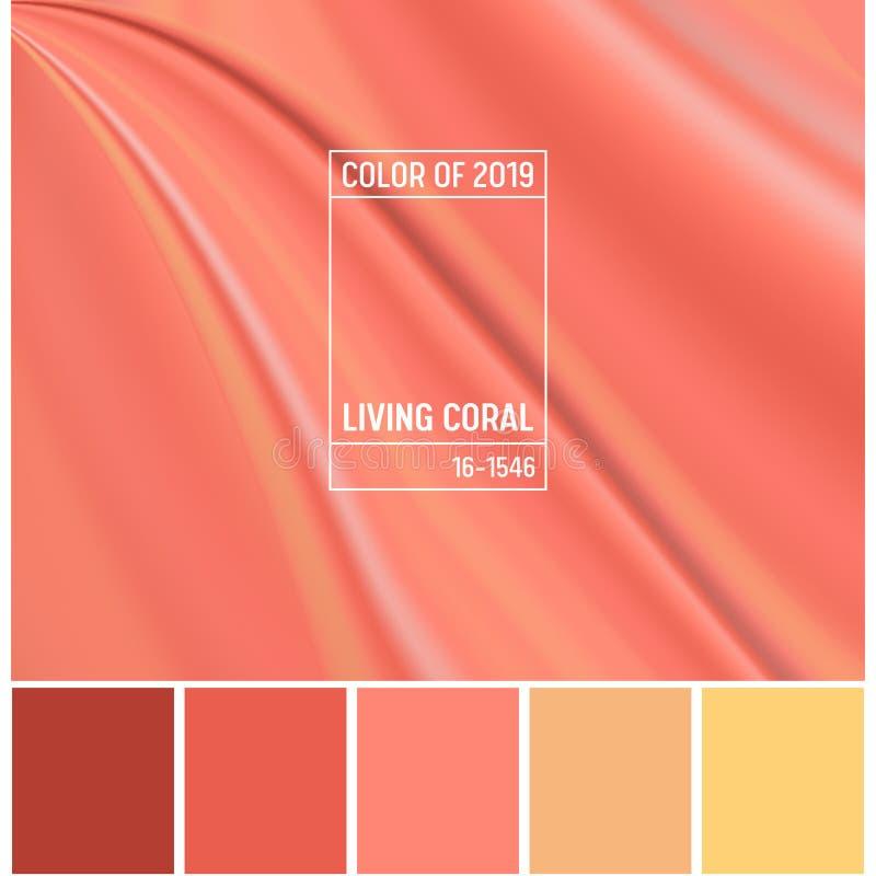 年2019抽象背景的珊瑚颜色 广告的,横幅,飞行物,着陆页居住的珊瑚可变的设计 向量例证