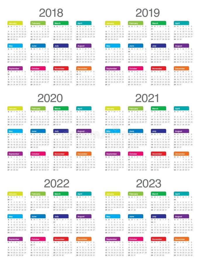 年2018 2019 2020 2021 2022 2023排进日程传染媒介 库存例证