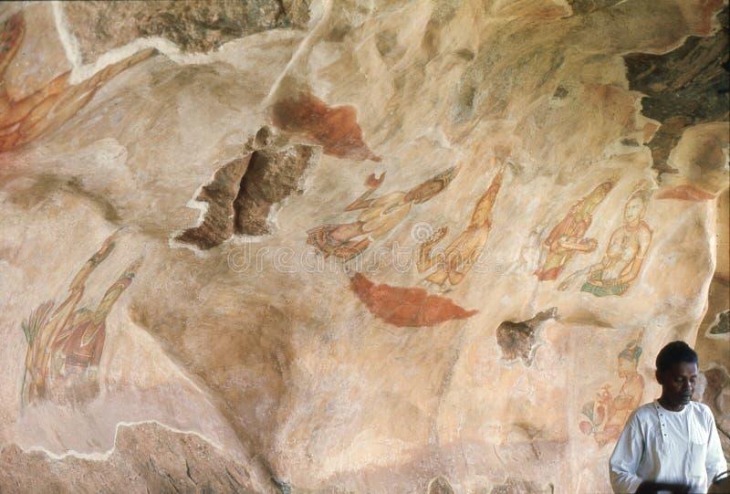 1977年 斯里南卡 在锡吉里耶岩石的壁画 免版税库存图片