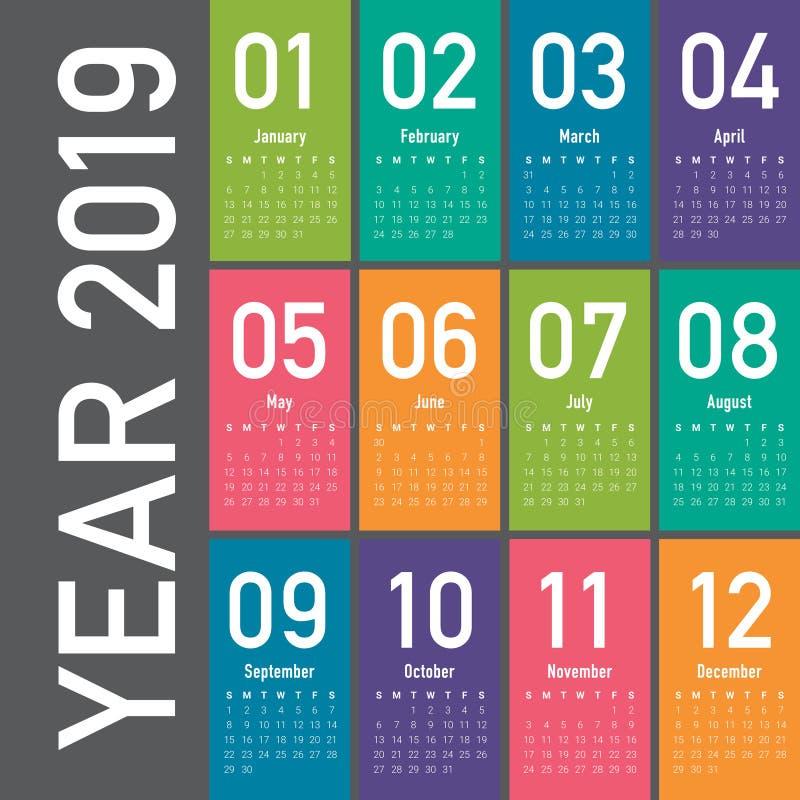 年2019日历传染媒介设计模板 向量例证