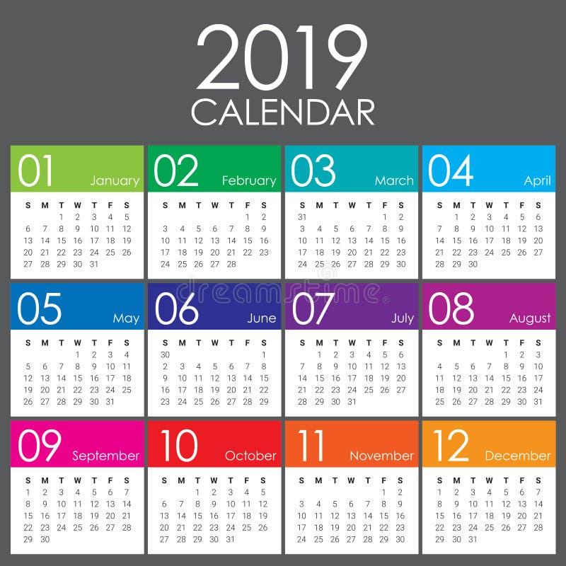 年2019日历传染媒介设计模板. 简单, 设计.图片
