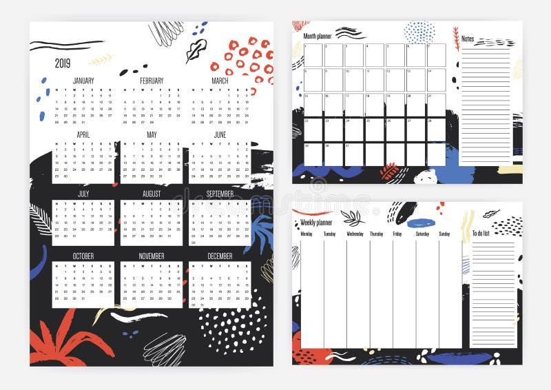 年2019日历,月度和每周计划者模板的汇集与五颜六色的杂文、污点、污点和油漆的 库存例证