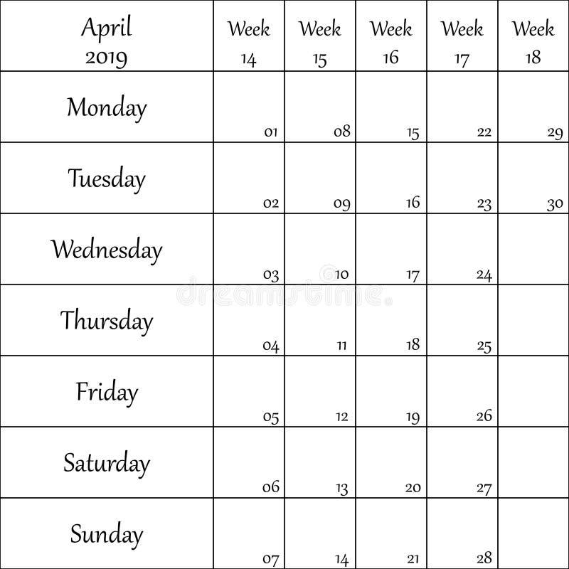 2019年4月与数字的计划者月微弱的其中每一的 向量例证