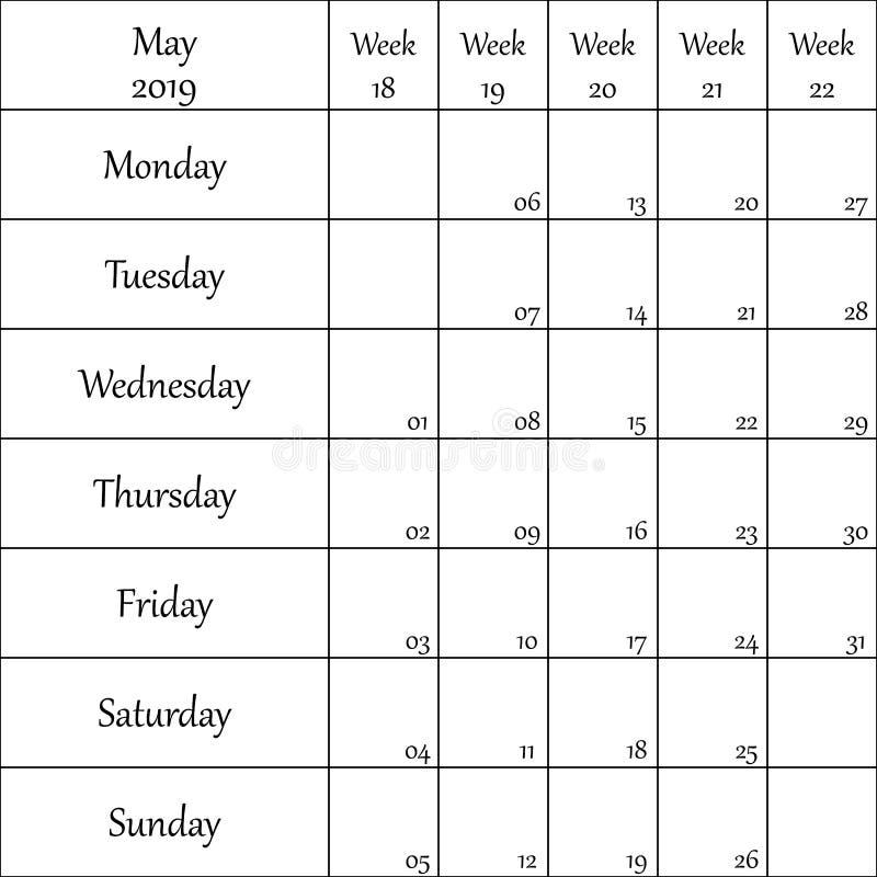 2019年5月与数字的计划者月微弱的其中每一的 向量例证