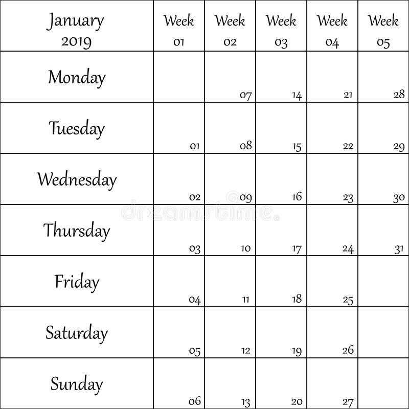 2019年1月与数字的计划者月微弱的其中每一的 库存例证
