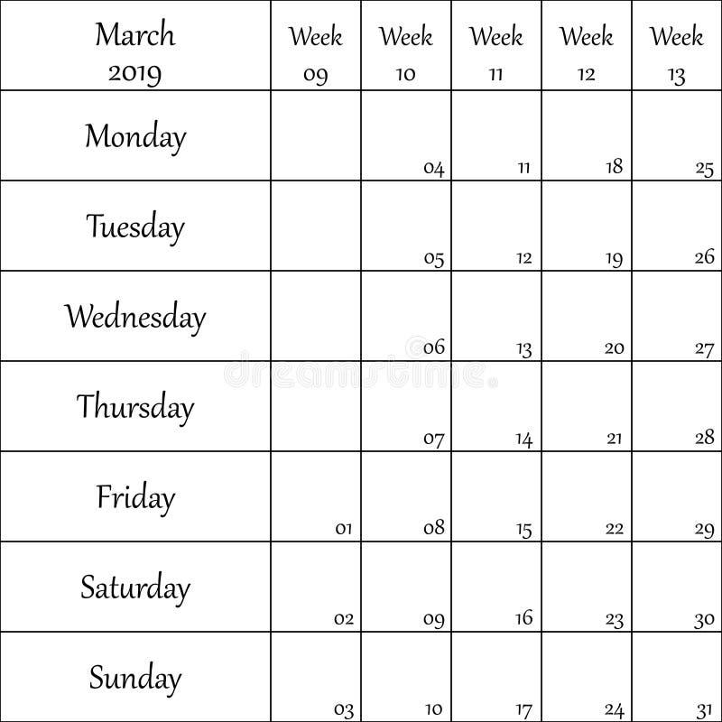 2019年3月与数字的计划者月微弱的其中每一的 库存例证