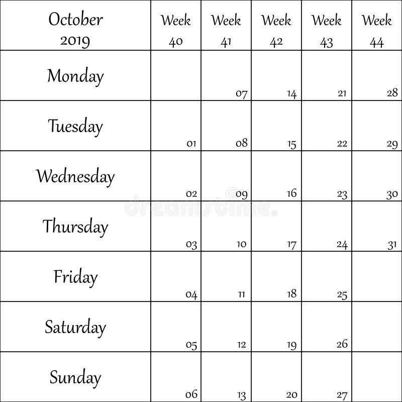2019年10月与数字的计划者月微弱的其中每一的 皇族释放例证