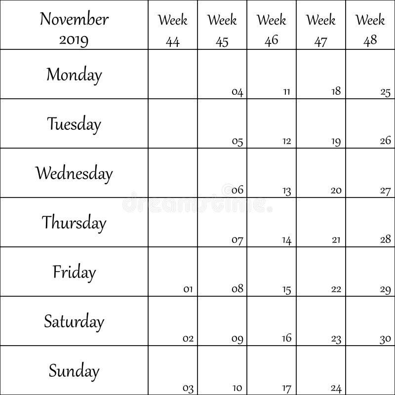 2019年11月与数字的计划者月微弱的其中每一的 向量例证